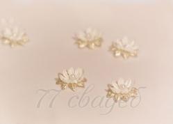 10406 Цветы для прически с липучкой айвори-золото, 10 шт.