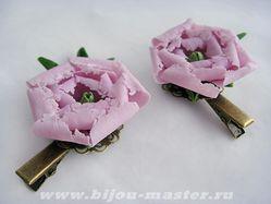 Авторские заколочки Розовый пион (авт.О.Тихомирова)