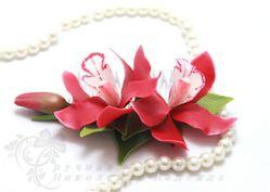 Гребень с орхидеями цимбидиум Fuoco - полимерная глина (авт.Н.Николенко)